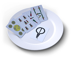 a white plate with Sicilian cards displayed on it