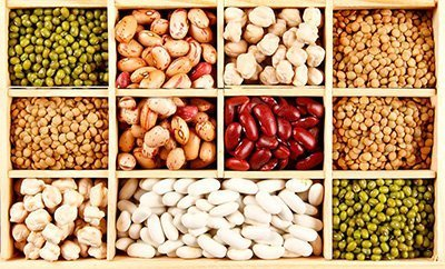 different kinds of legumes in different compartments