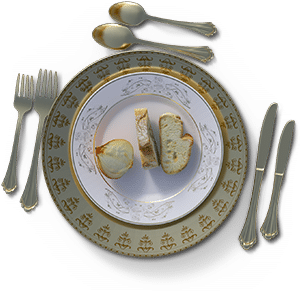 a fancy plate with bread and onion: the Sicilian diet